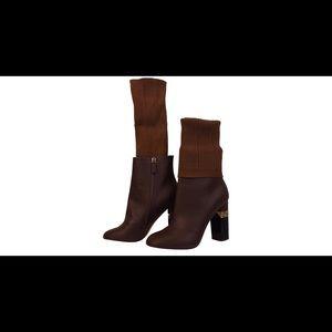 NIB CHANEL kangaroo leather logo sock Ankle boots